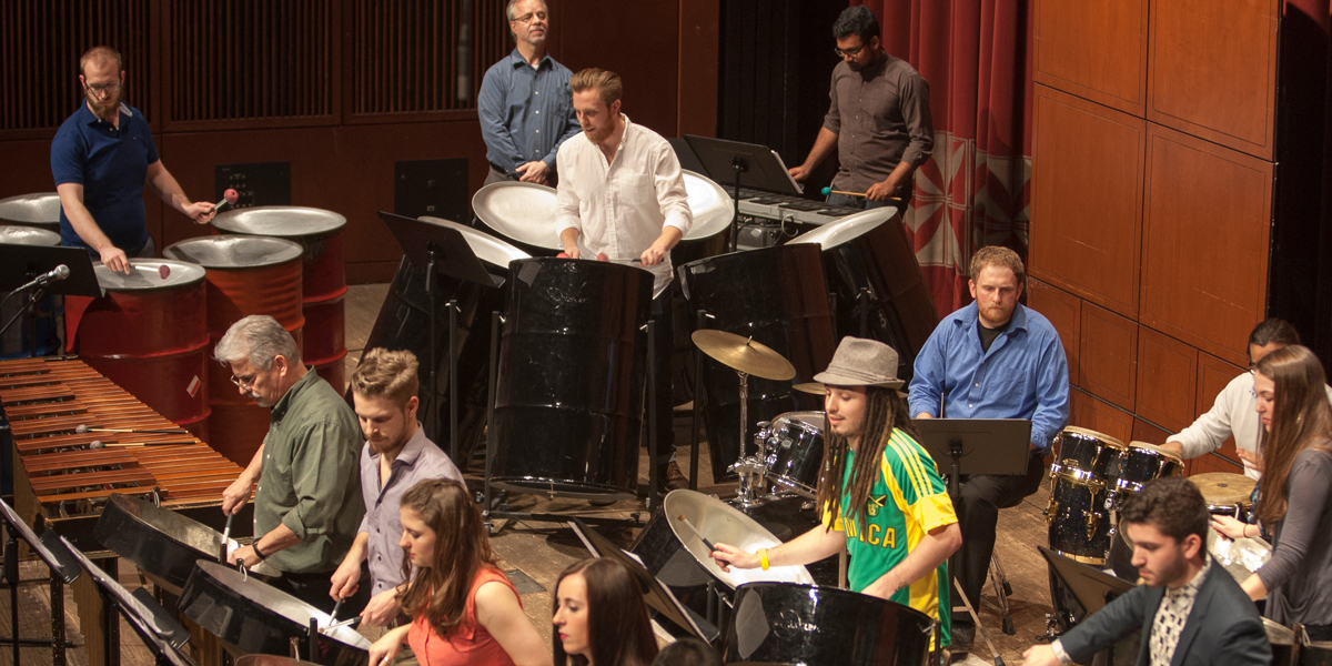 CCM's Steel Drum Band performs during the 2015 Moveable Feast gala fundraiser. Photo by Lisa Britten.