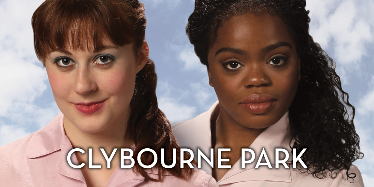 Two women look directly into the camera in a promotional image for the play 'Clybourne Park.' Photo by Mark Lyons.