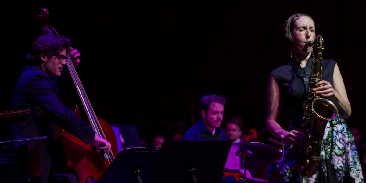 CCM Jazz students perform with alumni guest artist Janelle Reichman. Photo by Andrew Higley.