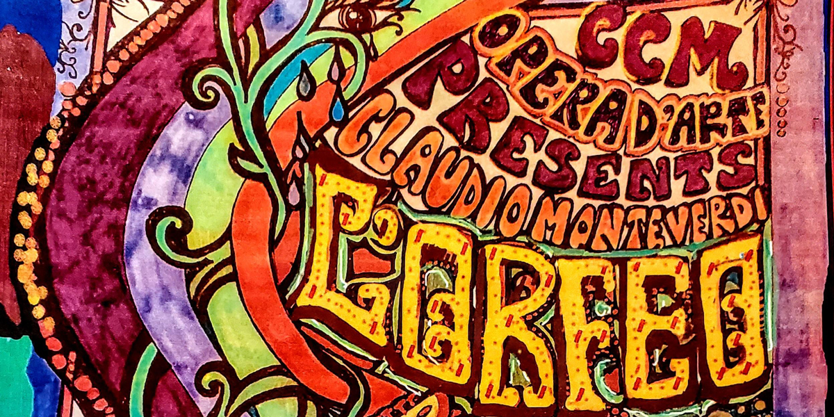A psychedelic poster design including performance information on L'Orfeo.
