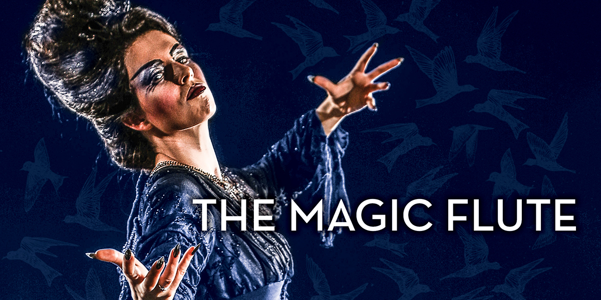 A woman poses dramatically as birds fly behind her in a promotional image for the opera 'The Magic Flute.' Photo by Mark Lyons.