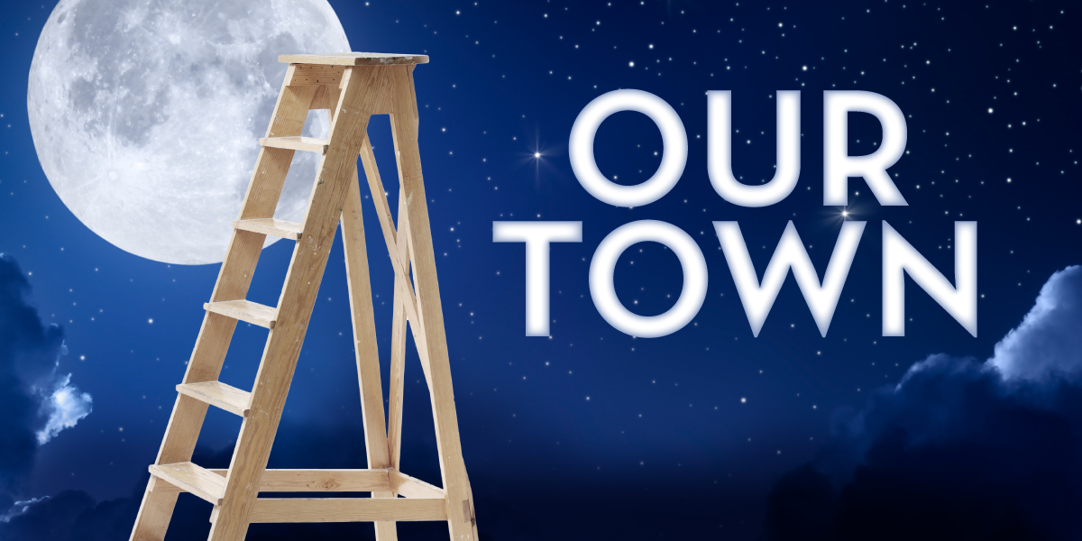 A ladder with the moon in the background graphic to promote