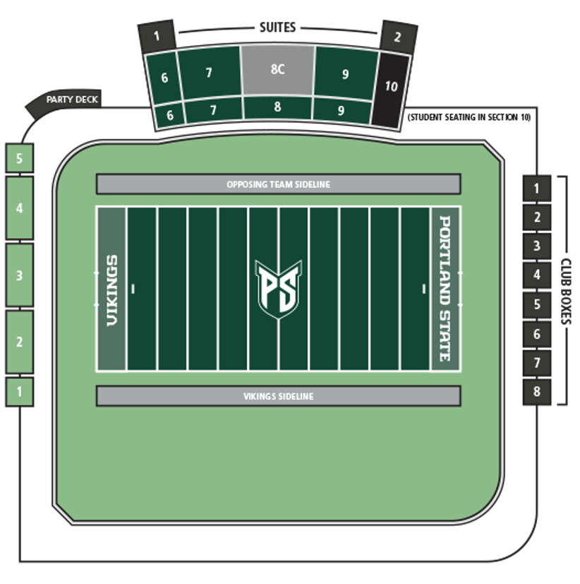 Layout of Hillsboro Stadium. Facing stands (south) from center of the field, the sections are numbered, left to right, 6, 7, 8C and 9. Section 10 is student seating. General admission to left (east) of field when facing stands. Club Boxes beyond right (west) end zone.
