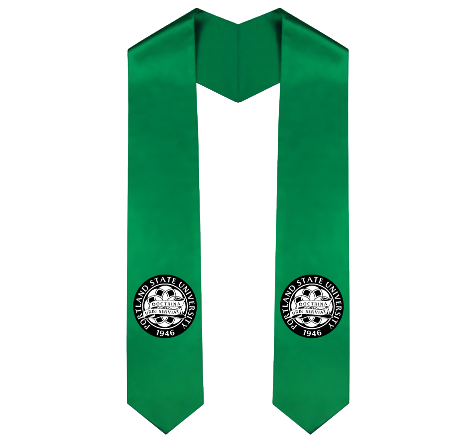 Stole of gratitude in Portland State green with circular commencement insignia