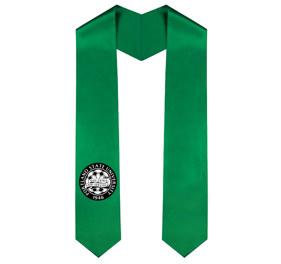 Stole of gratitude in Portland State green with circular commencement seal