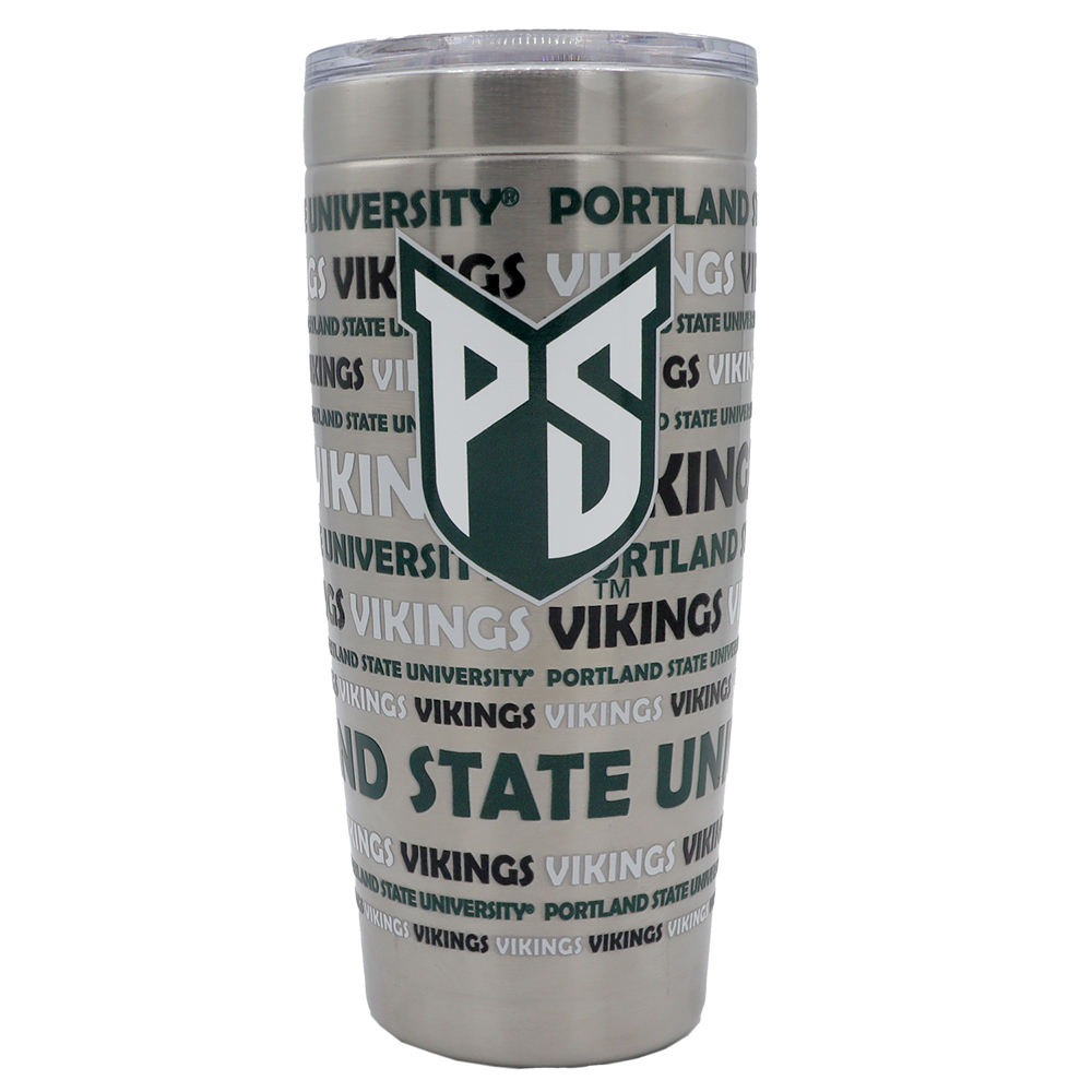 20 oz stainless steel tumbler with green and white PSU shield and Portland State University Vikings text wrapped around item.