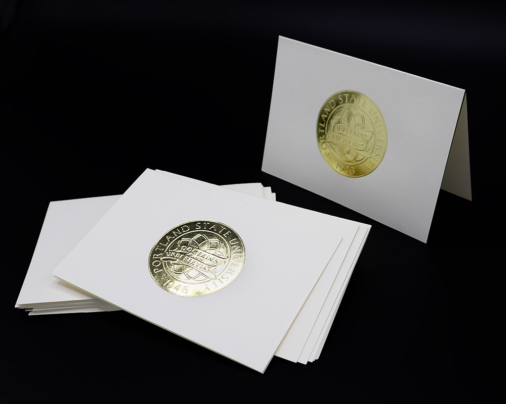 Portland State note cards with gold foil seal.