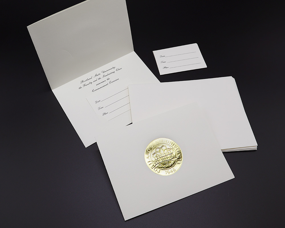 Blank Commencement Announcement cards with Portland State gold foil.