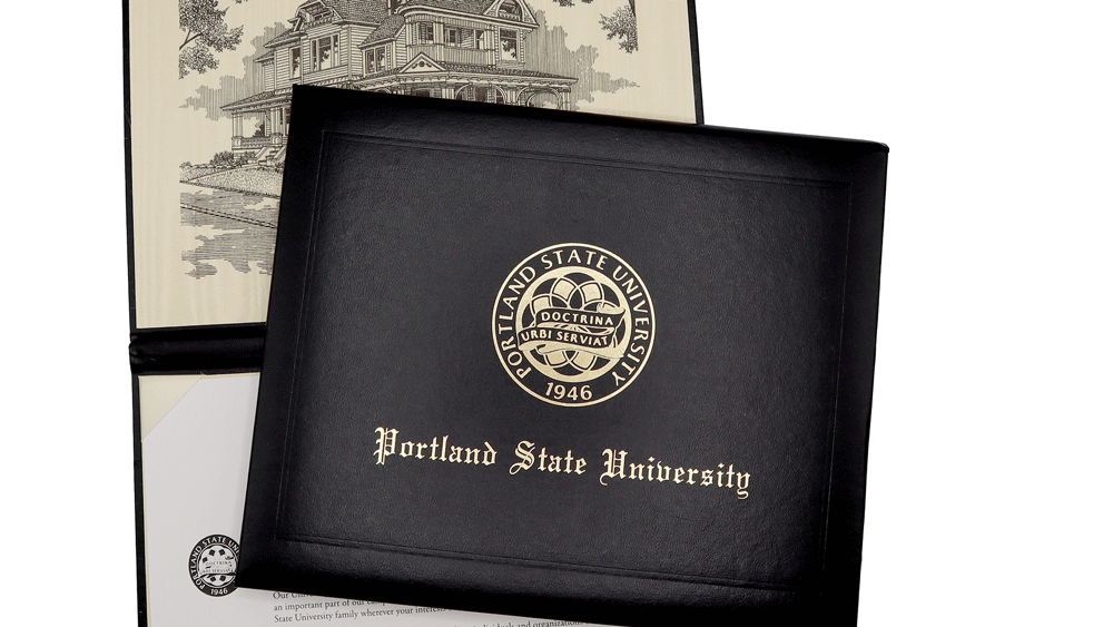 Diploma covers are black with commencement seal and the words Portland State University. Inside is an illustration of the Simon Benson House and place for a diploma.